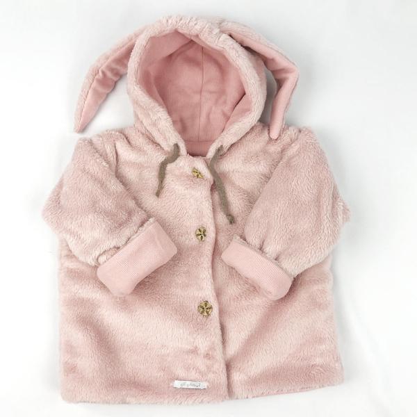 Abrigo para bebé con orejas rosa