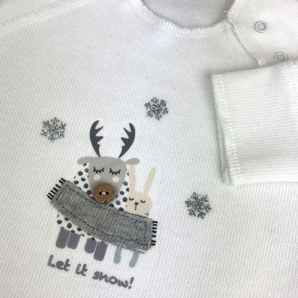 Pelele snow gris detalle