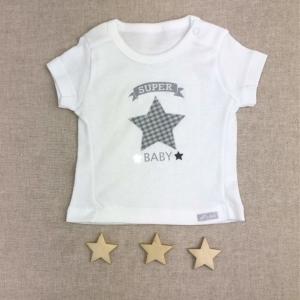 camiseta super baby gris